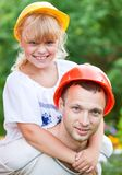 Construction workers family portrait Stock Photography