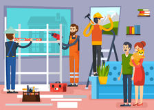Construction Workers Flat Composition Poster Stock Photos