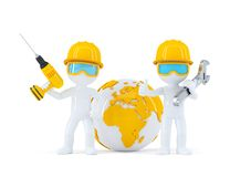 Construction workers with globe Stock Image