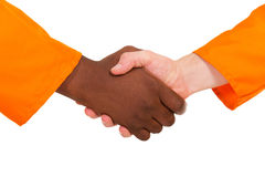 Construction workers handshake Stock Images