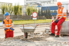 Construction workers having a break Royalty Free Stock Photo