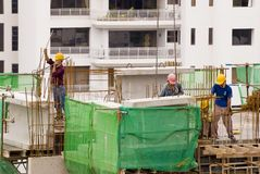 Construction workers at high-r Royalty Free Stock Photo