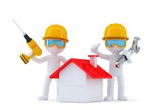 Construction Workers with home. Isolated. contains clipping path Stock Photo