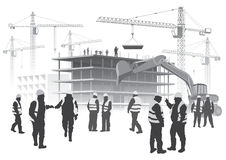 Construction workers. Illustration with house building and cranes. Construction workers Stock Photos