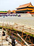 Construction workers inside Beijing Forbidden City Royalty Free Stock Photo
