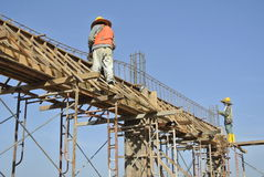 Construction Workers Installing Beam Formwork and the reinforcement bar Royalty Free Stock Photo