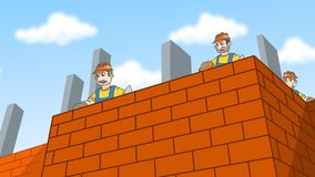 Construction workers laying bricks Royalty Free Stock Photos