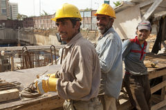 Construction workers in Lebanon. Three construction workers in Lebanon Stock Image