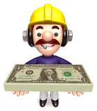 Construction Workers lift up the Dollar Bundle Stock Photos