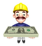 Construction Workers lift up the Dollar Bundle Royalty Free Stock Image