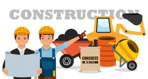 Construction workers machinery wheelbarrow mixer concrete barrel. Vector illustration vector illustration