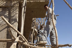 Construction workers in Mek'ele, Ethiopia Royalty Free Stock Photos