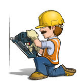 Construction Workers - Nailling. Cartoon illustration of a construction worker nailing with a nail-gun Stock Images