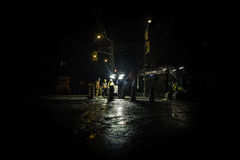 Construction workers at night Royalty Free Stock Photo