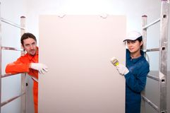 Construction workers painting Stock Image