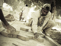 Construction Workers in Pakistan Stock Photo