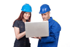 Construction workers planning Royalty Free Stock Image