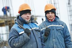 Construction workers preparing formwork Stock Images