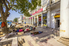 Construction workers relax at connaught place Royalty Free Stock Images