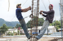 Construction workers in rural Mexico Royalty Free Stock Images