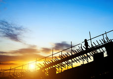 Construction workers on scaffolding Royalty Free Stock Photography