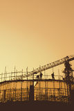 Construction workers and scaffolding Stock Photography