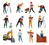 Construction Workers Set. Set of construction workers in safety vests and helmets with working tool and materials isolated vector illustration Stock Photos