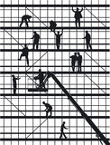 Construction workers silhouettes. Black and white silhouettes of construction workers at a building construction site Stock Photos