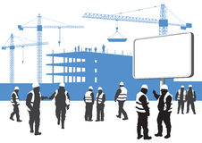 Construction workers silhouettes stock illustration