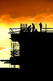 Construction workers silhouettes Stock Photography