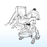 Construction workers on site. Hand drawn illustration of construction workers one bare chested shoveling sand and the other with a sieve all isolated on white vector illustration