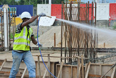 Construction workers spraying the anti termite chemical treatment Stock Photography