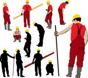 Construction workers team. Team of Construction workers in red workwear an yellow helmets. Vector illustration and silhouettes Royalty Free Stock Images
