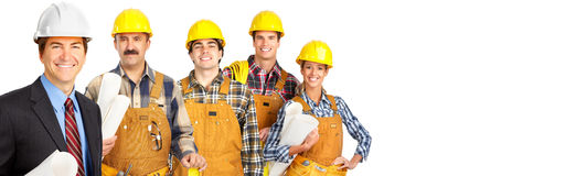 Construction workers team. Group of professional construction workers contractor on abstract background stock photography
