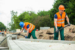 Construction workers during their work Stock Photo