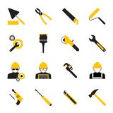Construction Workers and Tools Icons. Set of Yellow and Gray Construction Workers and Tools Icons on White Background Stock Images