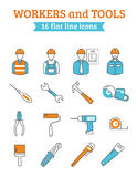 Construction workers tools line icons set Stock Photography