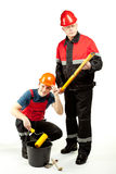 Construction workers in uniform with tools Royalty Free Stock Photos