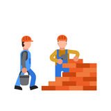 Construction workers vector builder characters group. Royalty Free Stock Images