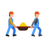 Construction workers vector builder characters group. Royalty Free Stock Photo