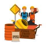 Construction workers wooden board barrel mixer concrete barrel sack and brick. Vector illustration Stock Photos