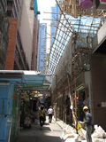 A narrow pedestrian street on the main island, Hong Kong stock photos