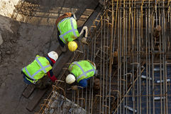 Construction workers at work in construction pit Royalty Free Stock Photography