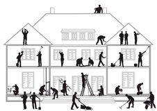 Construction workers at work. An illustration of construction workers at work Royalty Free Stock Images
