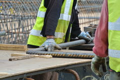 Construction workers working at the bar bending yard Royalty Free Stock Photography