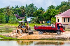 Earthwork and Construction Tractor stock images
