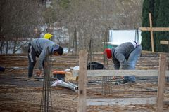 Construction workers outdoors activities stock photo