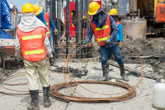 Construction workers working in site bridge piling Stock Images