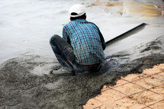 Construction working  for concrete floor. Stock Image