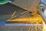 Construction working with cutting grinder Stock Photos